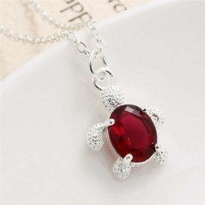 Jewelry - 3/$25 Red CZ Crystal Turtle Pendant Necklace